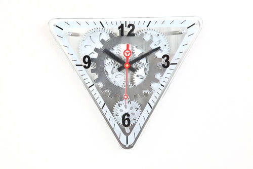 Maple's Triangular Moving Gear Wall Clock