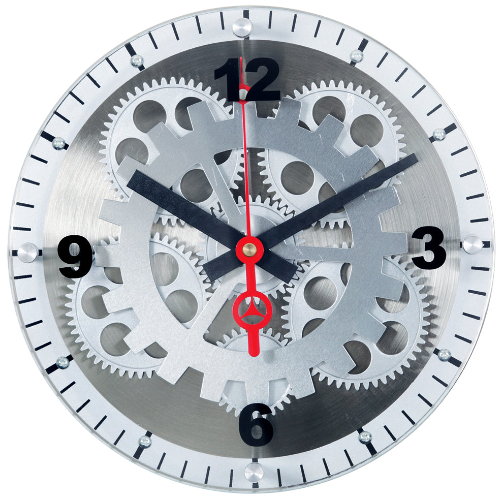 Maple's 12-Inch Moving Gear Wall Clock, Glass Cover