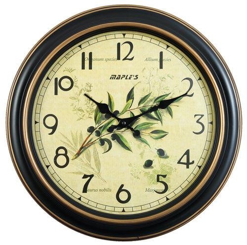 Maple's 14.5-Inch Wall Clock, Aged Dial with Plant Graphic