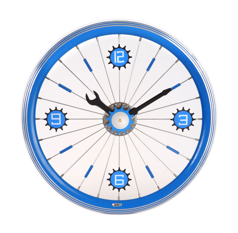 Maple's 16-Inch Aluminum Bicycle Wheel Wall Clock, Blue