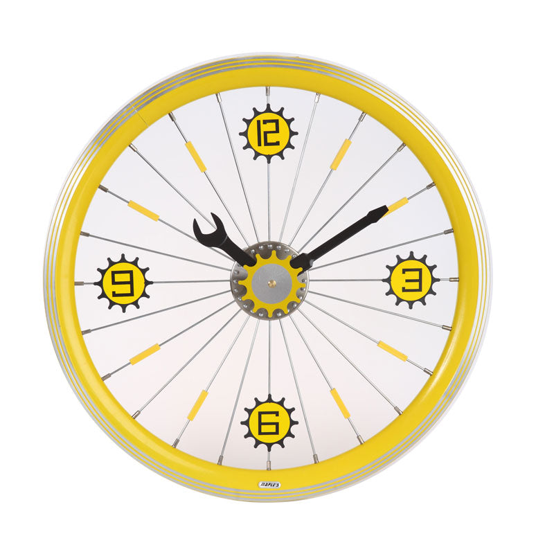 Maple's 16-Inch Aluminum Bicycle Wheel Wall Clock, Yellow