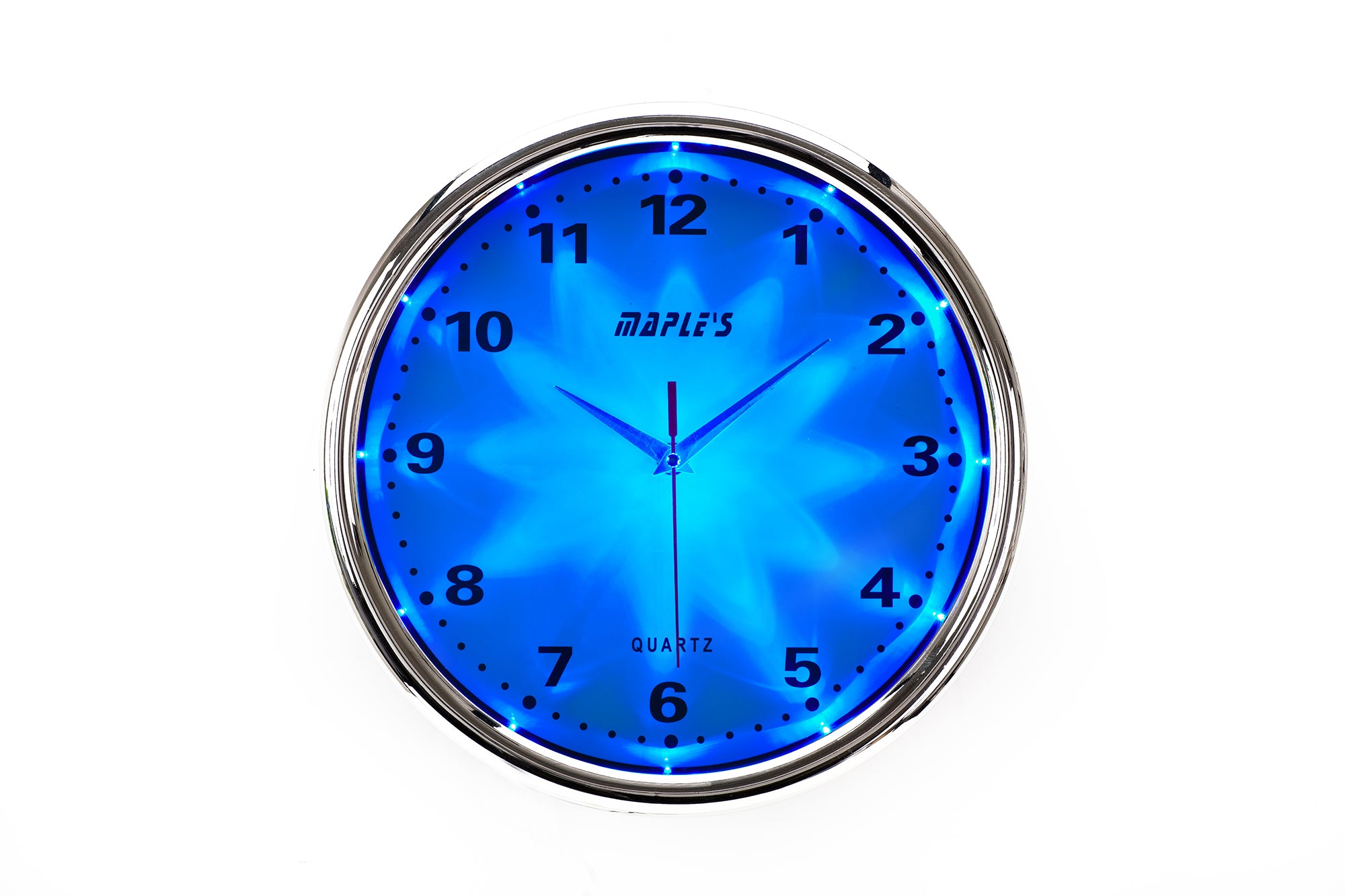 Maple's Clock Blue LED Plastic Wall Clock, 12-Inch