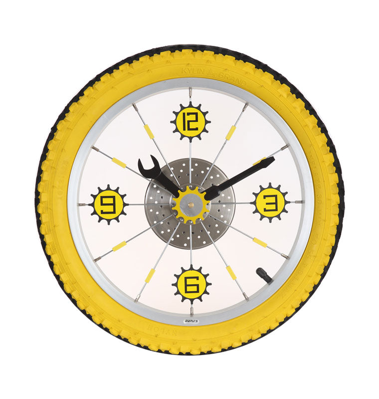 Maple's Aluminum Bicycle Wheel with Rubber Tire Wall Clock, Yellow