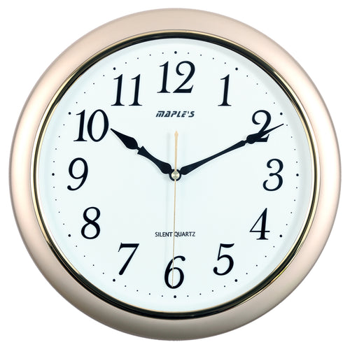 Maple's 14-Inch Wall Clock, White  Face with Metallic Gold Bezel
