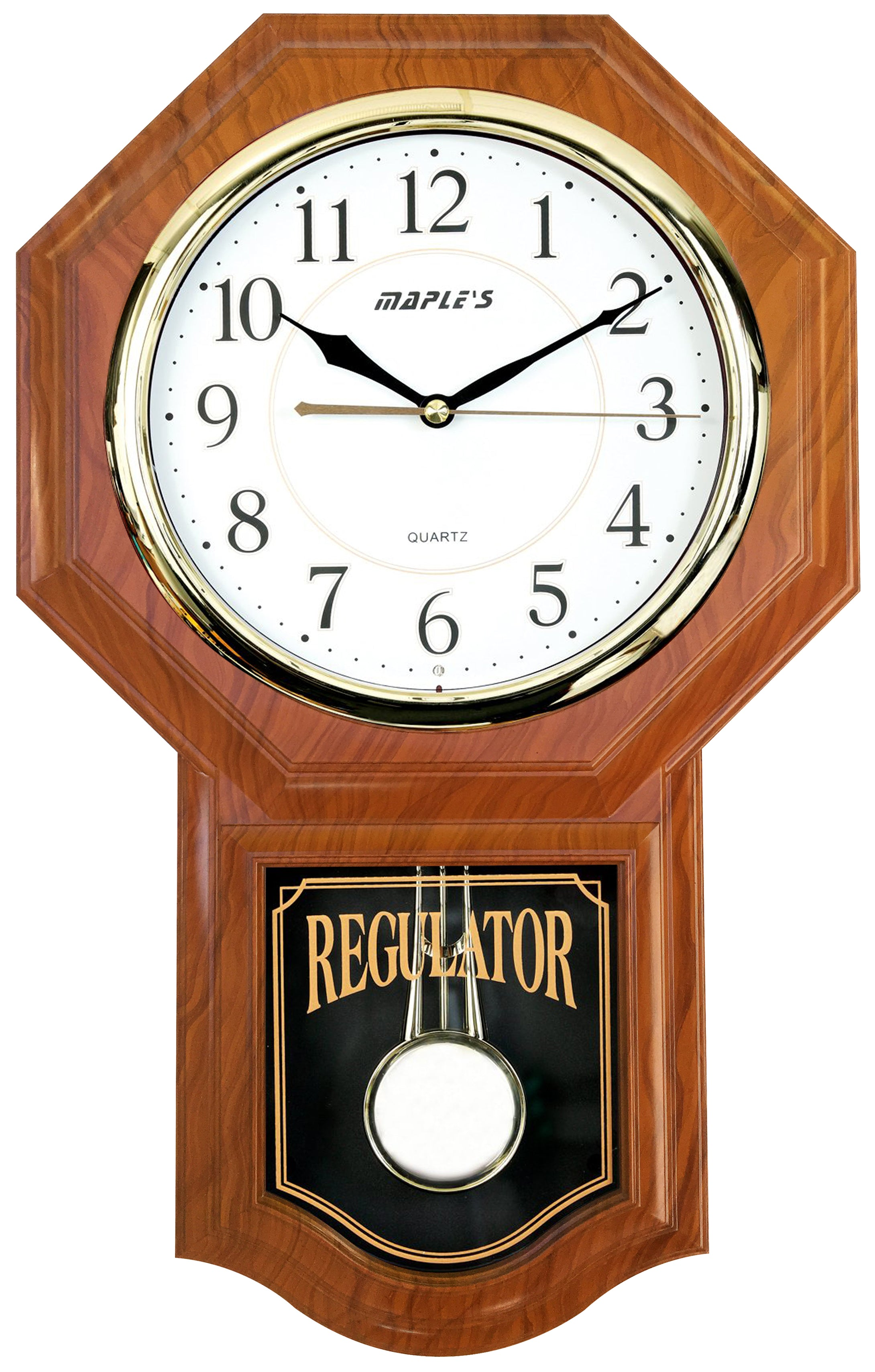 Maple's Traditional  Plastic Wall Clock  with Pendulum - Oak Style