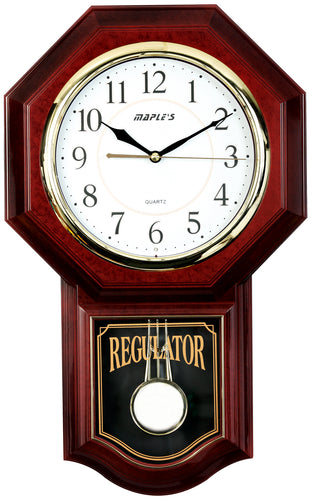 Maple's Traditional  Plastic Wall Clock  with Pendulum - Rosewood Style