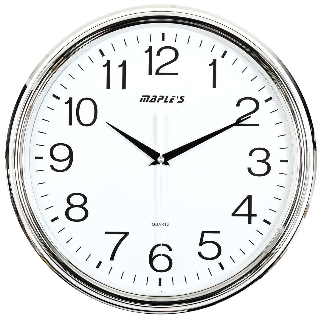 Maple's 15-Inch Wall Clock, White Face with Chrome Plastic Bezel