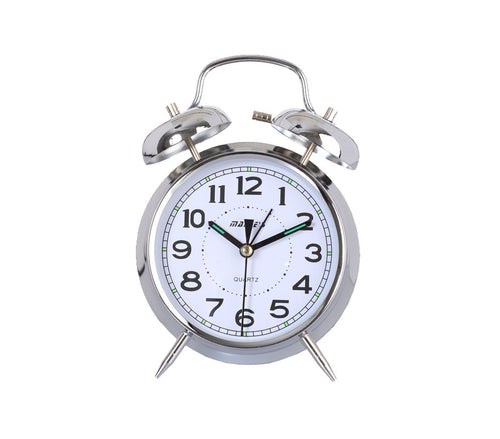 Maple's 4-Inch Double Bell Alarm Clock, Chrome Finish