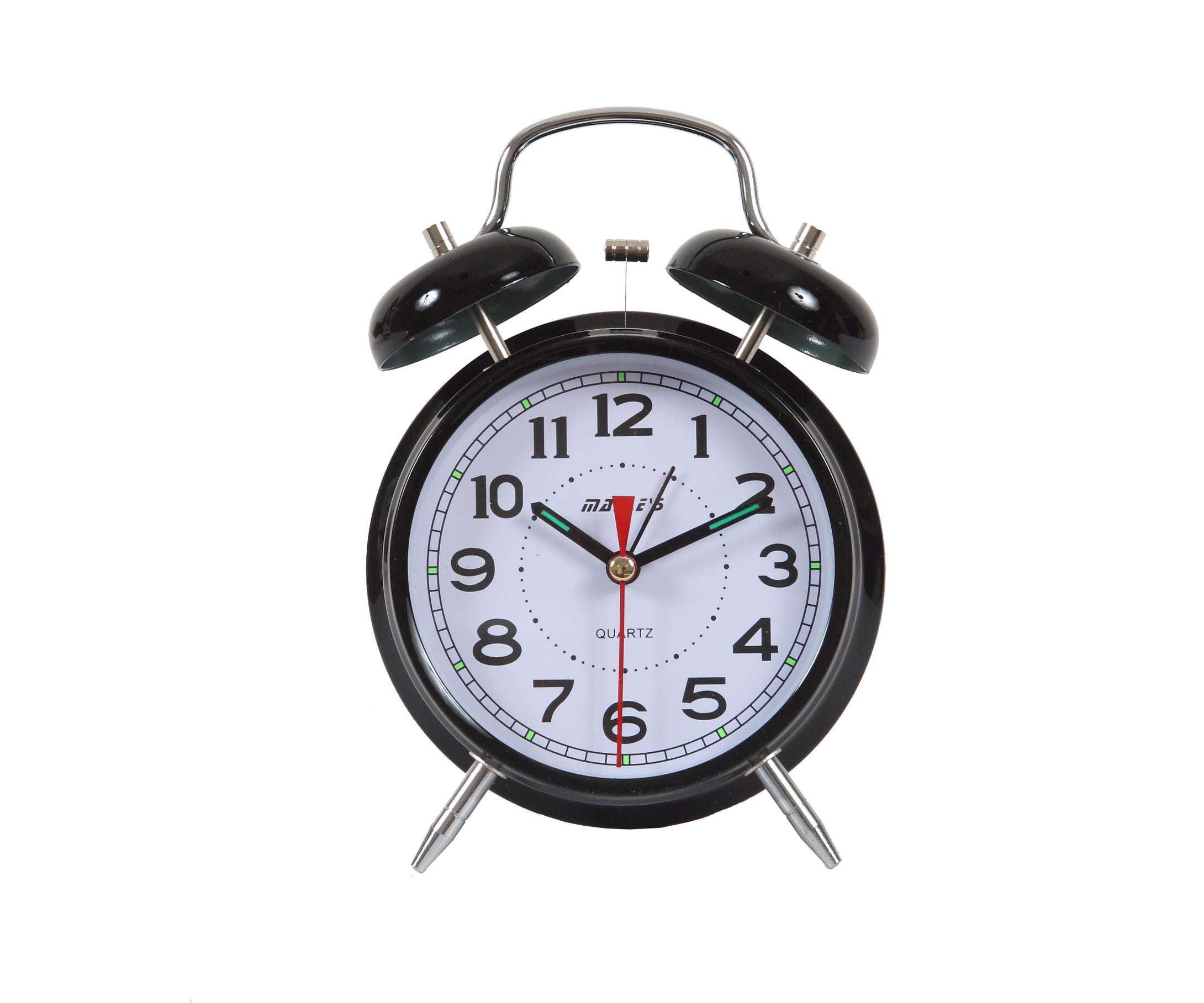 Maple's 4-Inch Double Bell Alarm Clock, Black Finish