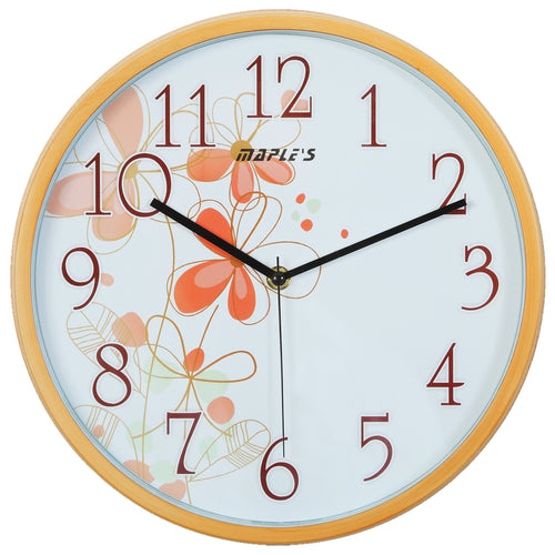 Maple's 12-Inch Wall Clock, White Face with Flowers