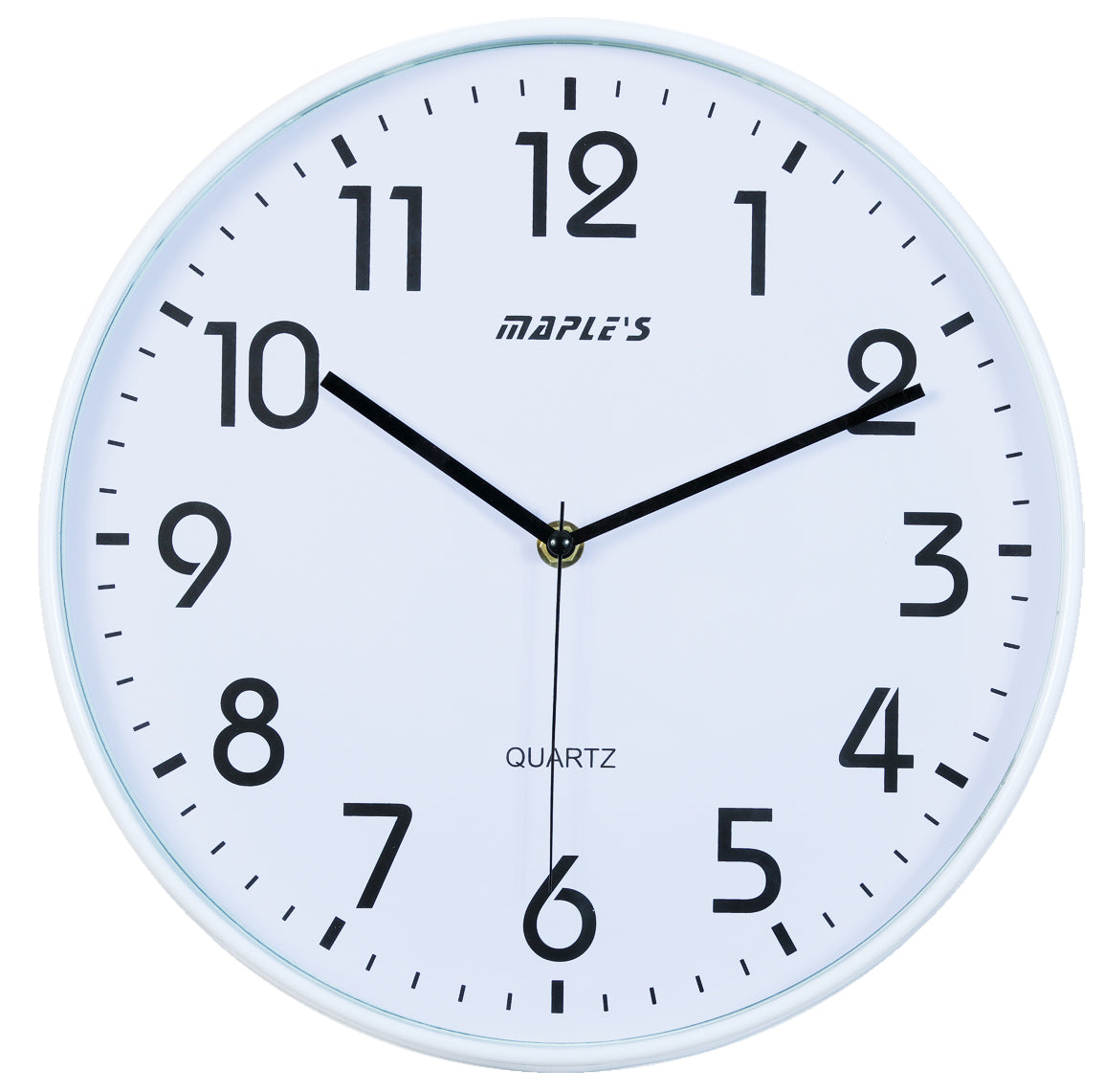 Maple's 12-Inch Wall Clock, White Face with White Bezel