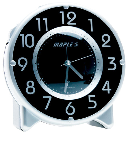 Maple's Streamline Table Alarm Clock, Atomic Time Sync, Black Face