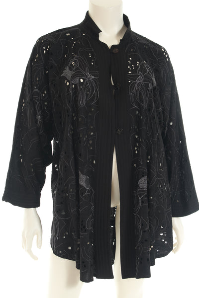 AA3003NBK Jacket A form china collar raglan long sleeve cutwork embroidery
