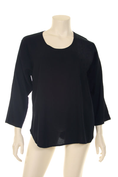 AC1419 Blouse U neck U bottom long sleeve plain