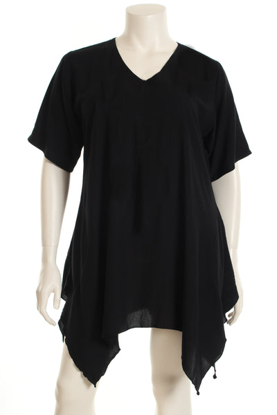 AC1610 Tunic V neck W bottom short sleeve plain