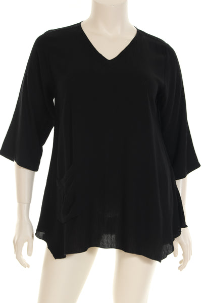 AC1745 Blouse V neck 3/4 sleeve plain