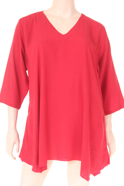 AC1745 Blouse V neck 3/4 sleeve A shape