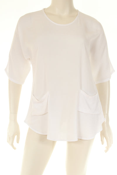 AC1753 Blouse boat neck U bottom 3/4 sleeve plain
