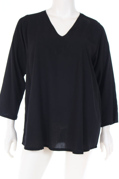 AC1781 Blouse V neck long sleeve plain