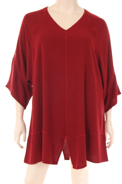 AS1557 Tunique V neck 3/4 sleeve assymetric bottom plain
