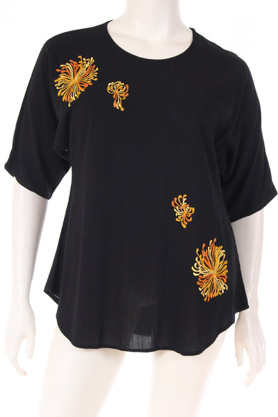 DN1655chys Blouse boat neck U bottom 3/4 sleeve plain with chrysanthemum embroidery