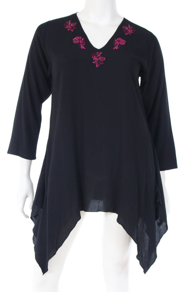 DN1697chys Tunique V neck W bottom long sleeve plain with chrysanthemum embroidery