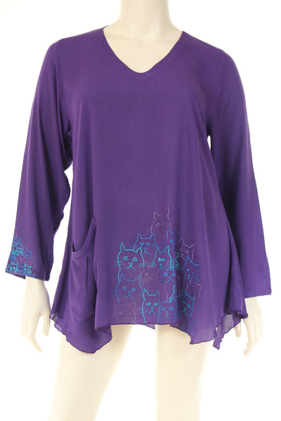 DN1722cats Blouse V neck 3/4 sleeve A shape cat embroidery