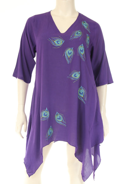 DN1760peacock Tunique V neck 3/4 sleeve A shape peacock embroidery
