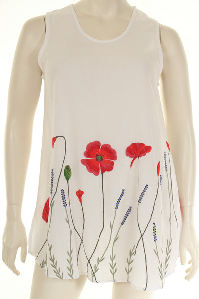 DN1777P1 Top long U neck sleeveless plain embroidered