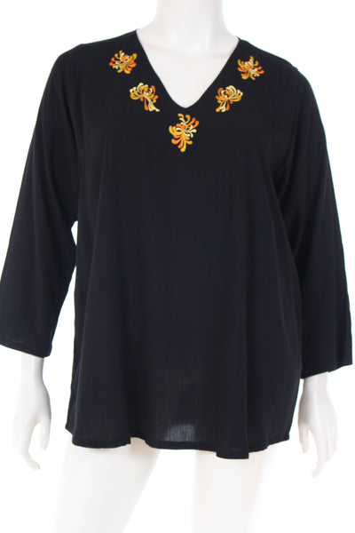 DN1781chys Blouse V neck straight bottom long sleeve plain with chrysanthemum embroidery