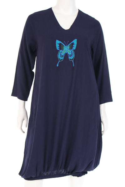 DN6217bf Dress Tunique V neck elasticated bottom long sleeve plain with butterfly embroidery