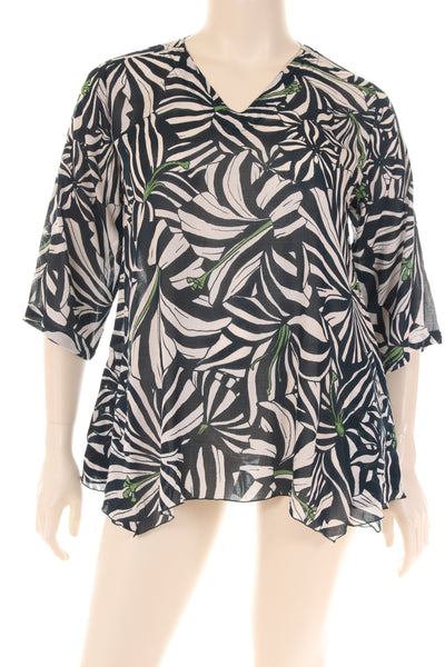 HF1745S Blouse V neck 3/4 sleeves A shape