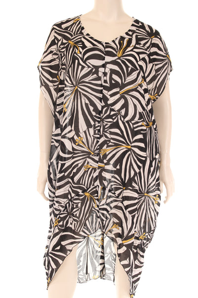 JG6221S Caftan long dress U neck print