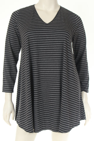 KC1787N Tunique V neck long sleeve A shape