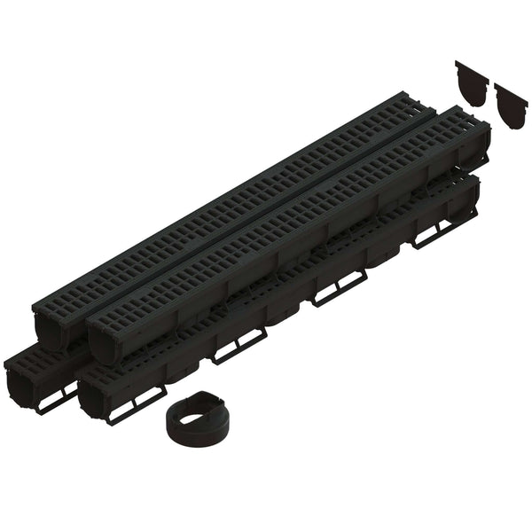 Spark 1 - 3 Inch channel Black Trench Drain Standartpark 4 Pack