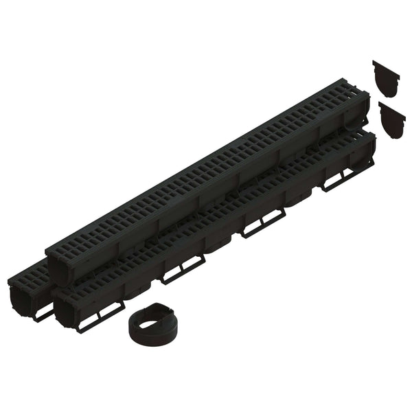 Spark 1 - 3 Inch channel Black Trench Drain Standartpark 3 Pack