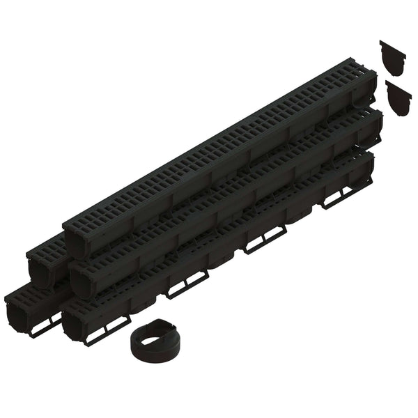 Spark 1 - 3 Inch channel Black Trench Drain Standartpark 5 Pack