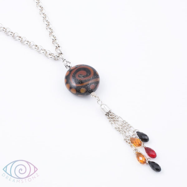 Tribal Night Art Glass Necklace - Necklace