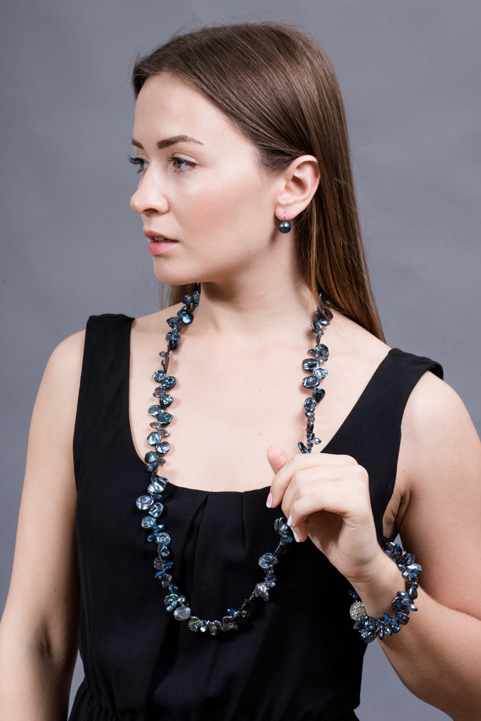 Peacock Blue Cultured Freshwater Keshi Pearl Necklace and Bracelet