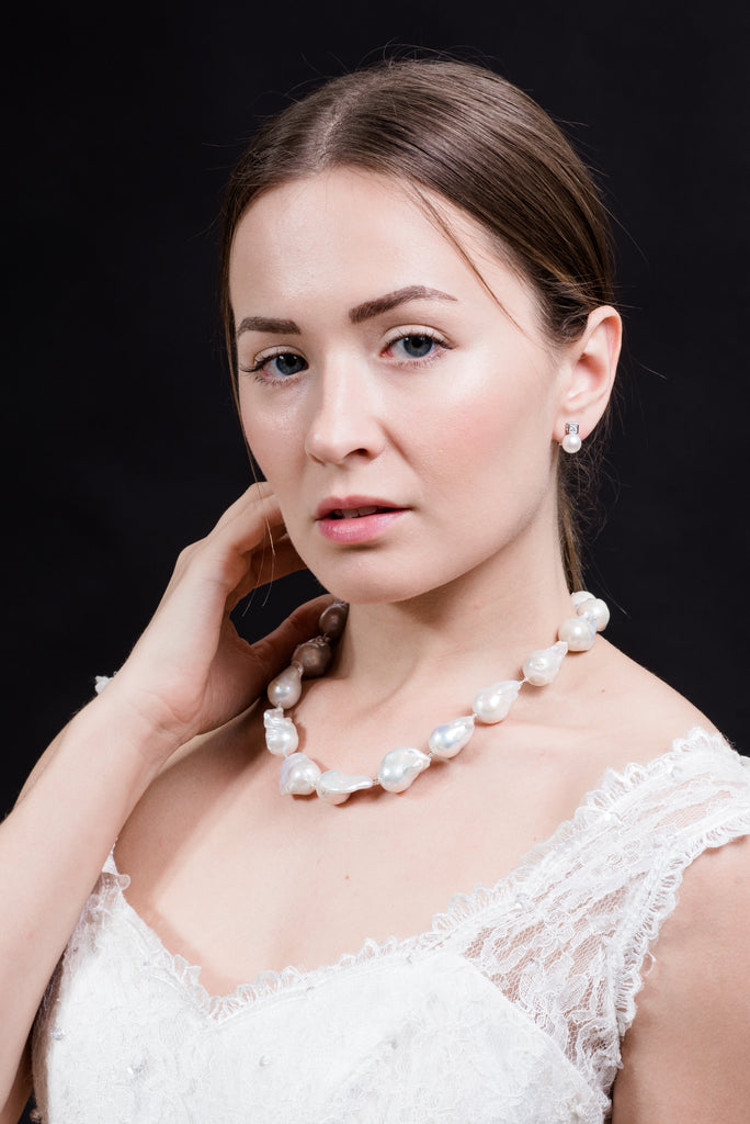 White Cultured Freshwater Baroque Pearl Necklace and Earrings