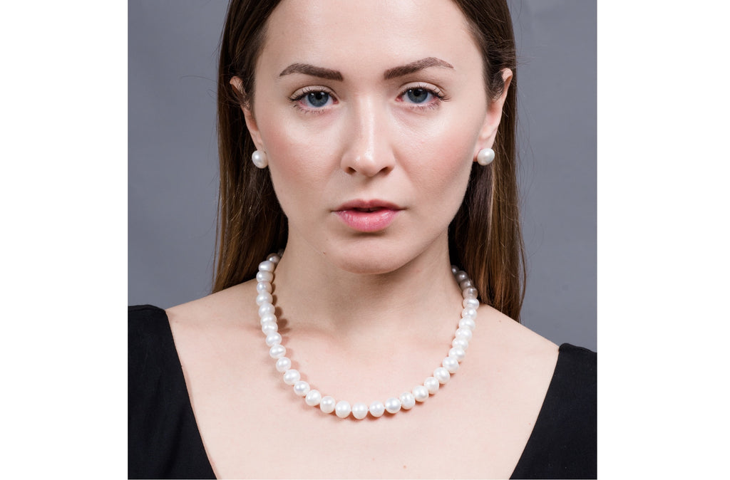 Single Strand Rice Shape Peach Cultured Freshwater Pearl Necklace and Earrings 11mmx13mm