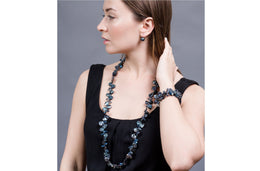 Blue Freshwater Keshi Pearl and Crystal Long Necklace and Bracelet Set-Pearl Rack
