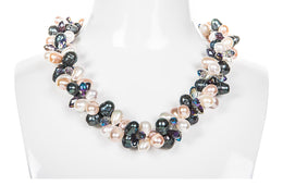 Double Strand Twisted and Crystal Freshwater Pearl Necklace-Pearl Rack