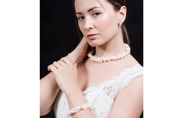 Double Strands Irregular White Freshwater Pearl Necklace-Pearl Rack