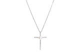 Freshwater Pearl Cross Pendant Chain Necklace-Pearl Rack