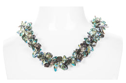 Green Freshwater Keshi Pearl and Crystal Twisted Necklace-Pearl Rack