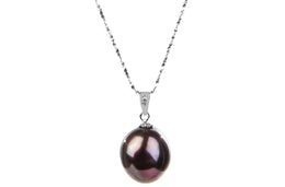 Irregular Brown Freshwater Pearl Pendant and Sterling Silver (925) Chain Necklace 13mm-Pearl Rack