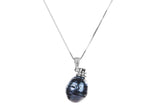 Irregular Dark Blue Freshwater Pearl Pendant and Sterling Silver (925) Chain Necklace 12mm-Pearl Rack