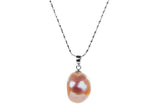 Irregular Peach Freshwater Pearl Pendant and Sterling Silver (925) Chain Necklace 13mm-Pearl Rack