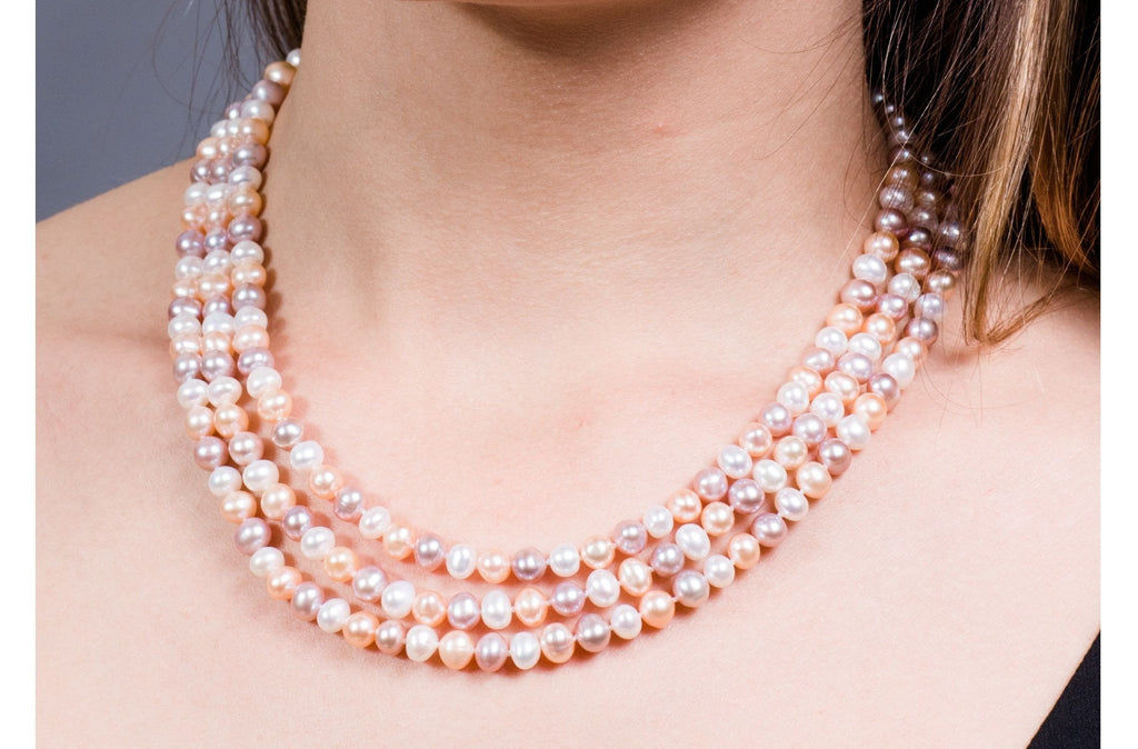 f5db168acf4c2 Multi-Color Triple Strand Layer Freshwater Pearl Necklace 6-7mm